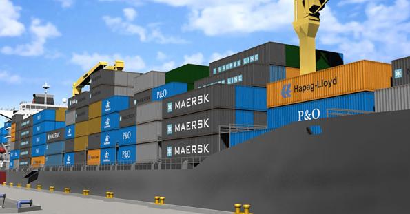 3D-Rendering eines Containerschiff von AnyMotion