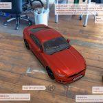 Virtuelles rotes Auto im Kamerabild positiionerit