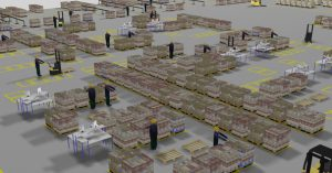 Logistics processes in a high-rack warehouse