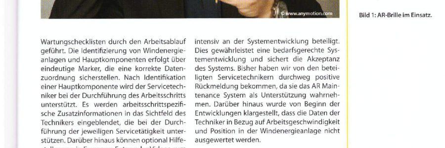 """Artikel über AnyMotions Projekt in der Fachzeitung """"Industrie 4.0 Management"""" (4.2016)"""